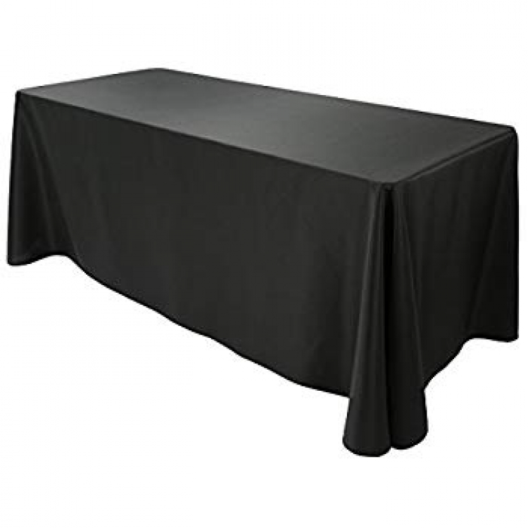 6' Black Full Drop Tablecloth (Polyester)
