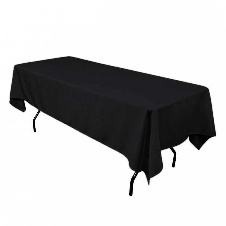 6' Black Rectangle Tablecloth (Polyester)